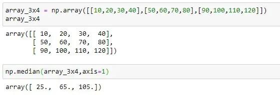 Median of each row of 2D array