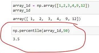 Numpy percentile of a Single Dimensional Array