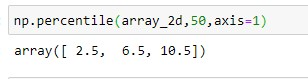 Numpy percentile of a Two Dimensional Array using axis =1