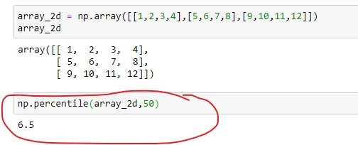 Numpy percentile of a Two Dimensional Array