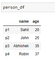 Output of the Person Dataframe