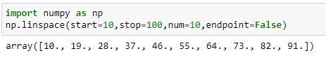 Returning a numpy array between intervals without end value