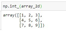 Using the numpy.int_() method for 2D Array