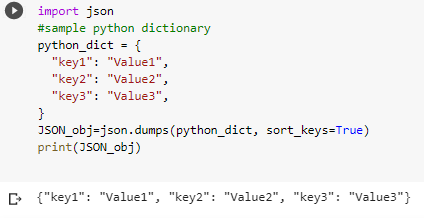 dict to json sorting example