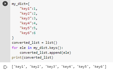 python dict keys to list appending method