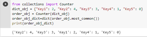 sort dict by value using Counter