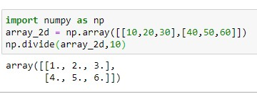2D Numpy Division using numpy.divide() method