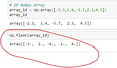 Applying floor() on 1D numpy array