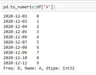 Applying to_numeric method on Column A