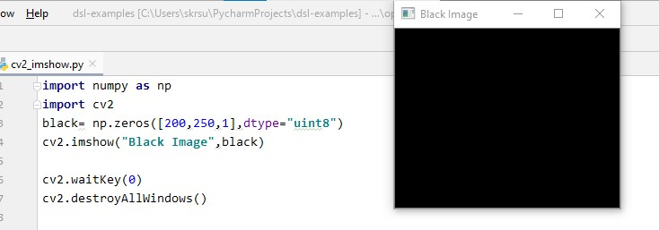 Displaying the black image using cv2 imshow() method