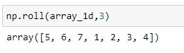 roll on a 1D array with shift =2