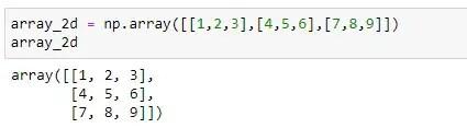 Sample 2D Numpy array