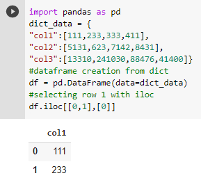 iloc in python using list