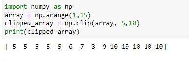 Clipped Numpy array between 5 and 10