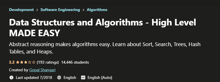 Data Structures and Algorithms - High Level MADE EASY course