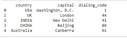 Output of the dataframe after adding row using the location