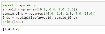 Output for the numpy digitize