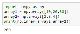 Inner product of two 1D numpy array