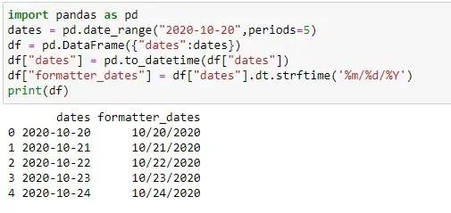 Applying pandas strftime on dates of datetime type