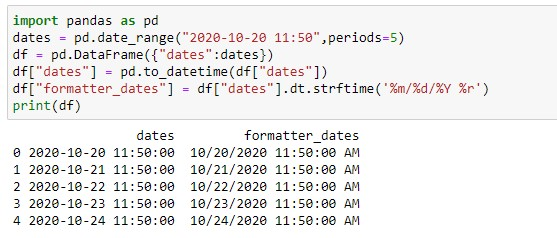 Applying pandas strftime on dates with time