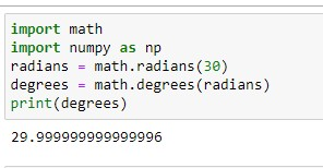 Converting radians to degrees in python