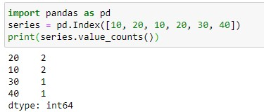 Find the unique count on Index