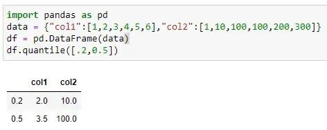 Finding Quantile value using multiple quantile on dataframe