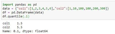 Finding ten percent Quantile on dataframe
