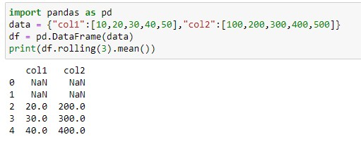 Rolling mean for the simple dataframe