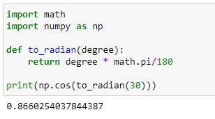 conversion of degrees to radians in python using custom function