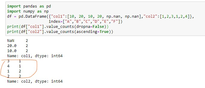 sorting the counts by passing the ascending argument