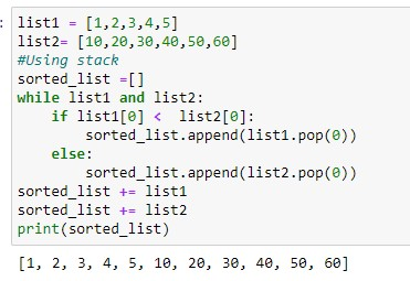 Merging two sorted list using stack