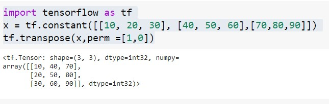 transpose of tensor with perm parameter