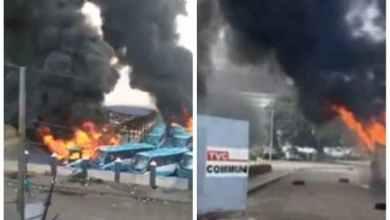 Photo of Tinubu's TVC, BRT terminal, Sanwo-Olu's family house set ablaze in Lagos