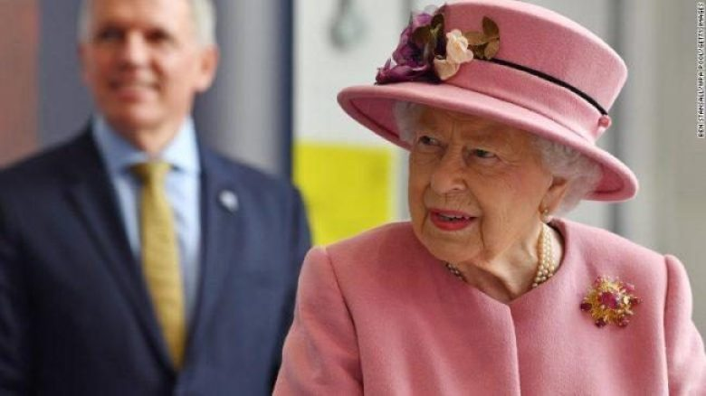 Britain's Queen Elizabeth II visits the Porton Down military research facility on Thursday near Salisbury, England.