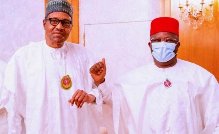 Dave Umahi of Ebonyi and President Muhammadu Buhari