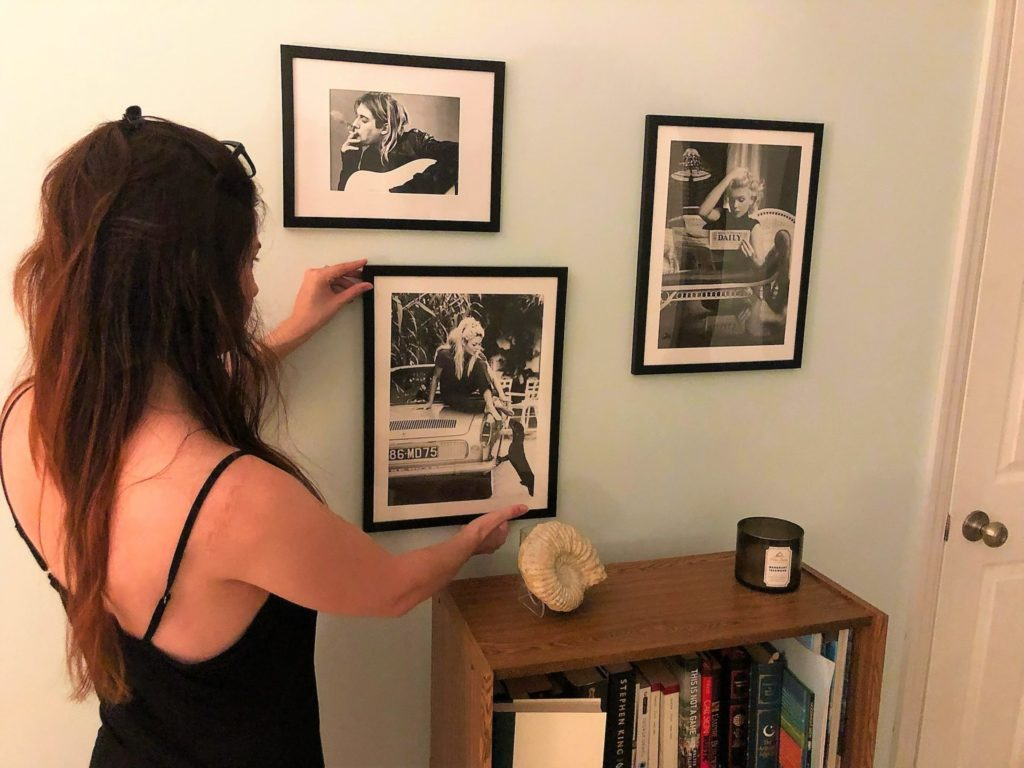 Hanging Prints from Poster Store with my hair down