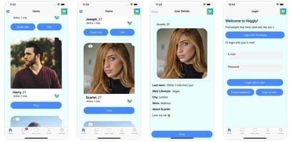 Screenshots from Veggly app