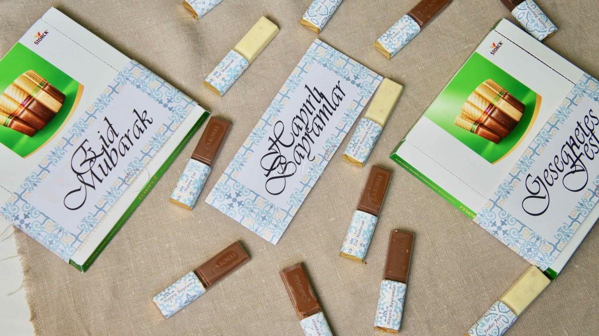 Verschiedene Varianten der verzierten Merci Schokolade