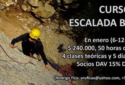 Curso de Escalada en Roca Nivel Básico, Enero 2019, profesor Rodrigo Fica