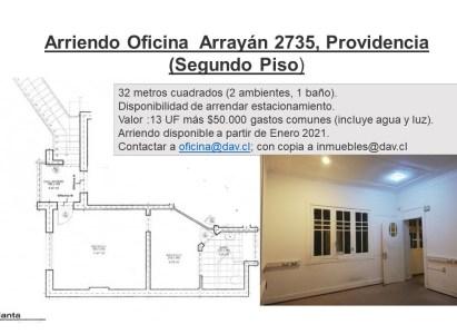 Arriendo Oficina Segundo Piso Arrayán 2735, Providencia