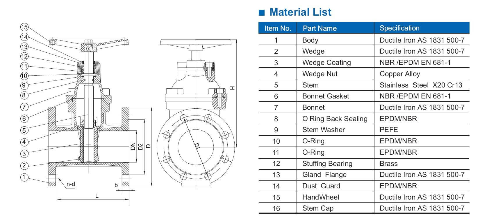 As Resilient Seat Gate Valve With Flange Connection
