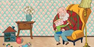 Marco abrazando a su abuelo
