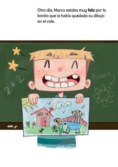 Marco mostrando un dibujo