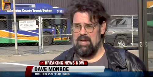 Dave Monroe being interviewed on the news in Milwaukee.