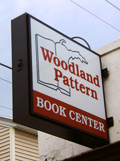 Sign for the Woodland Pattern Book Center in Milwaukee, WI