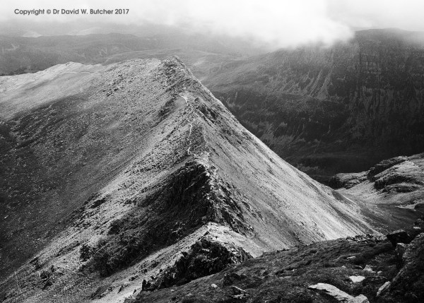 Helvellyn Striding Edge in Summer, Lake District