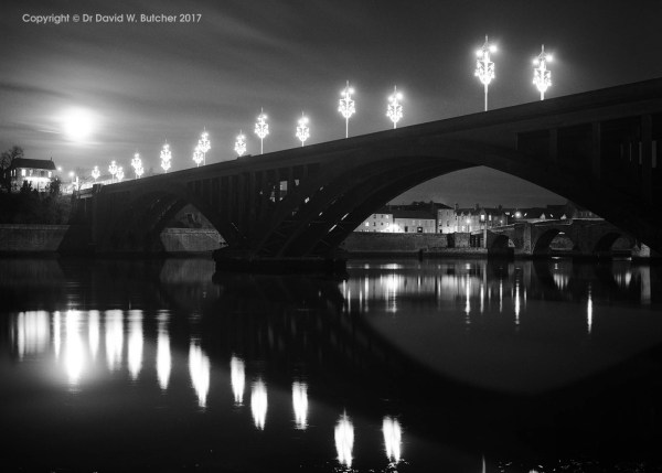Berwick New Bridge and Moon reflections, Northumberland