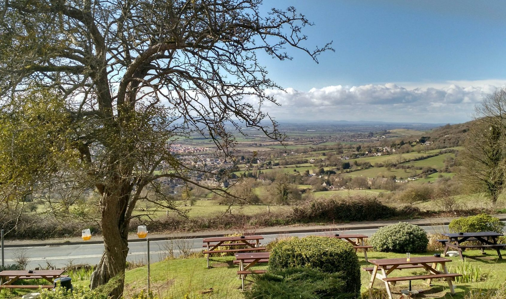 View from our Room at Cleeve Hill Rising Sun, Cotswolds