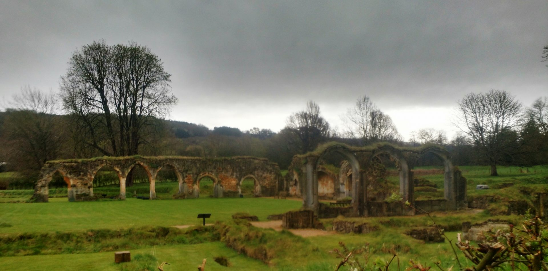 Hailes Abbey Ruins in the Rain near Winchcombe, Cotswolds